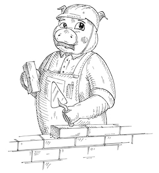 Porco vestido com o macacão e capacete de construção segurando tijolo e espátula. ilustração em vetor vintage monocromática para incubação isolada no fundo branco. elemento de design desenhado à mão para t-shirt