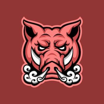 Porco zangado respira design de logotipo de mascote premium para jogos