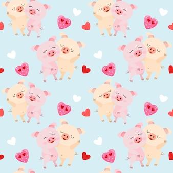 Porcos bonitos do casal com teste padrão sem emenda da forma do coração.