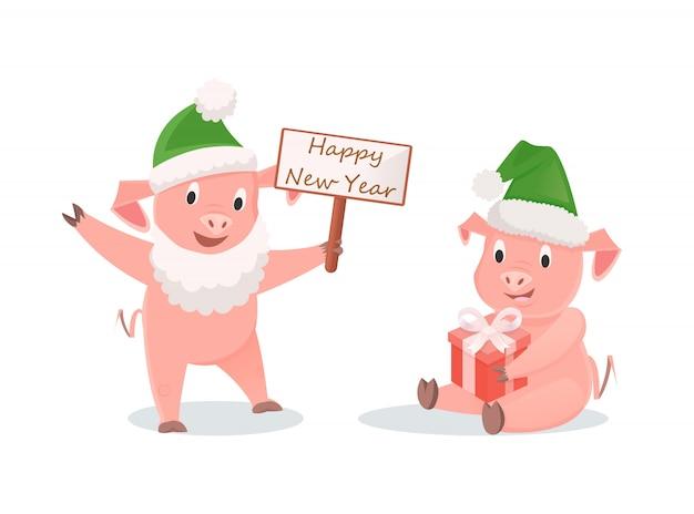 Porcos de ano novo com caixa de presente e placa de saudação