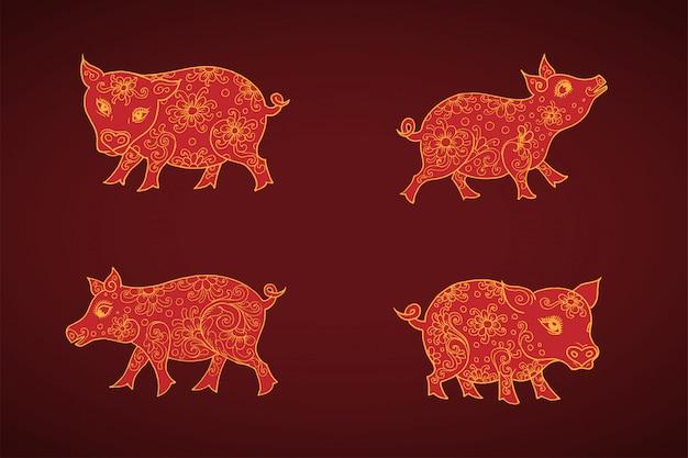Porcos do zodíaco chinês, mão desenhada