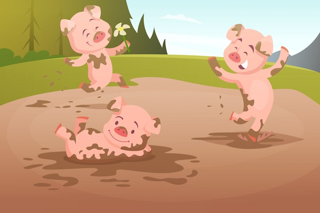 Porcos dos miúdos que jogam na poça suja