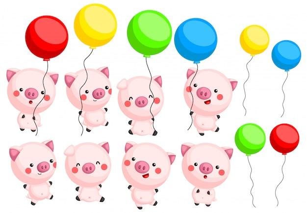 Porcos e balão