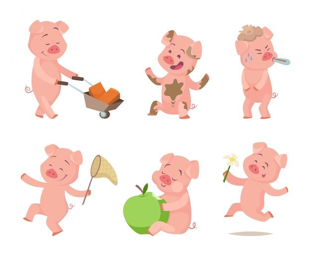 Porcos engraçados dos desenhos animados em poses de ação