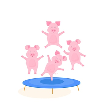 Porcos engraçados pulando na cama elástica. porquinho fofo está se divertindo.