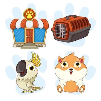 Porquinho da índia e papagaio com ícones de pet shop