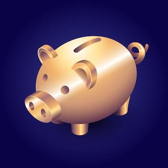 Porquinho de porco dourado isométrico em fundo escuro