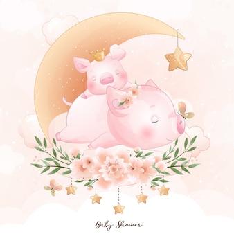 Porquinho fofo com desenho floral