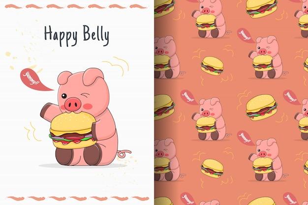 Porquinho fofo comendo hambúrguer sem costura padrão e cartão