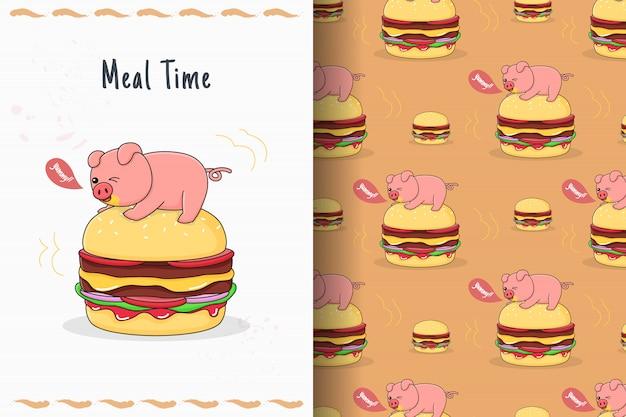 Porquinho fofo em cima do cartão e padrão sem emenda de hambúrguer
