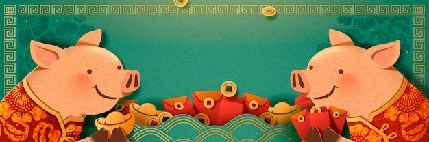 Porquinho fofo segurando lingote de ouro e desenho de banner de envelope vermelho, fundo turquesa em branco
