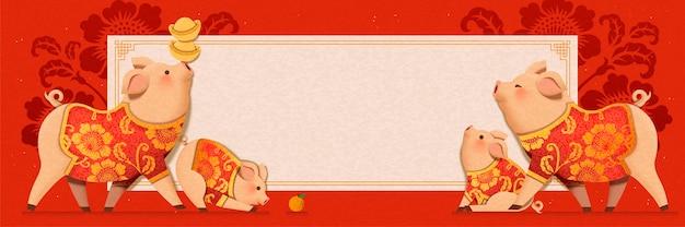 Porquinho fofo vestindo trajes tradicionais com desenho de banner de ano novo