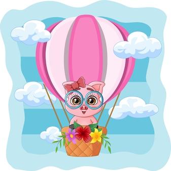 Porquinho fofo voando em um balão de ar quente