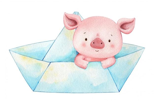 Porquinho sentar em um barquinho de papel. ilustração de crianças em aquarela