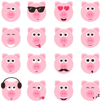 Porquinhos rosa fofos com diferentes emoções definidas