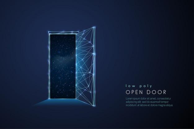Porta aberta abstrata para o universo