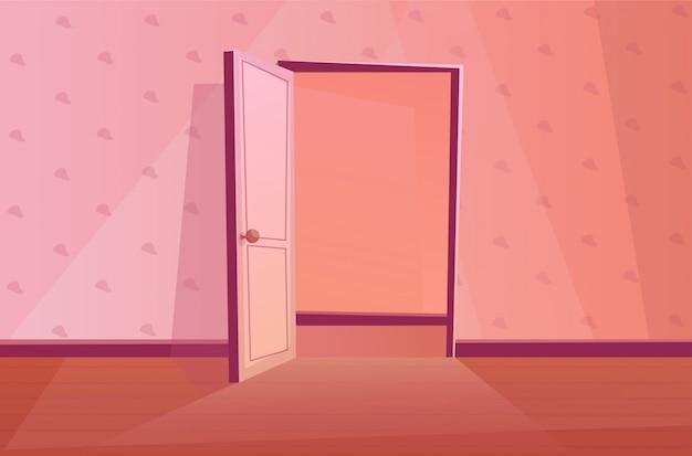 Porta aberta com textura de papel de parede