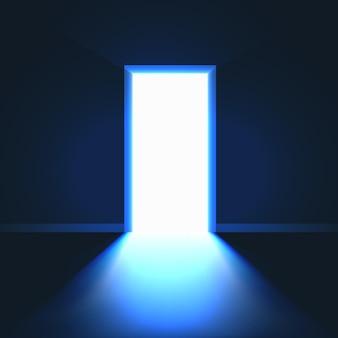 Porta aberta no símbolo da sala escura de esperança ou solução