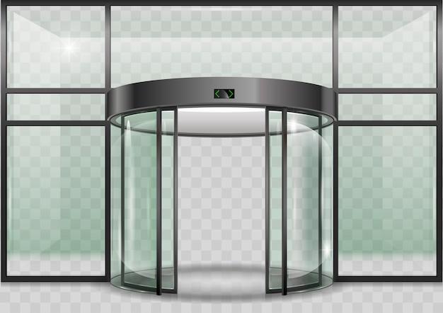 Porta automática de vidro redondo
