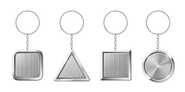 Porta-chaves com suporte de pingente de prata. chaveiro em branco com anel para chaves