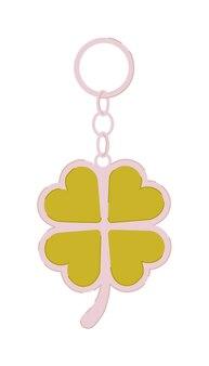 Porta-chaves com trevo de quatro folhas isolado no branco