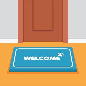 Porta com carpete com o texto de boas-vindas