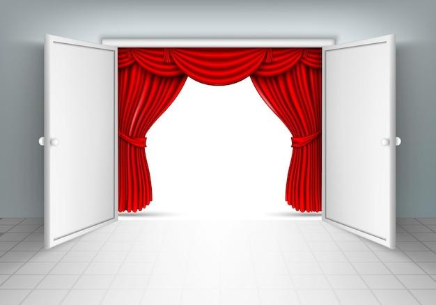 Porta com cortinas de seda vermelha.
