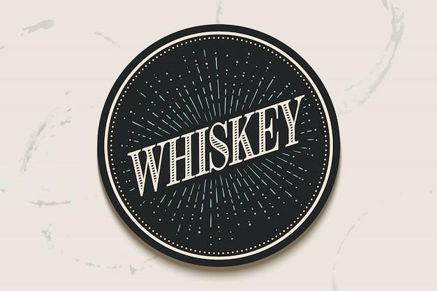 Porta-copos de bebidas com inscrição whisky e raios de luz