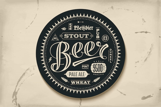 Porta-copos para cerveja com letras de mão desenhada