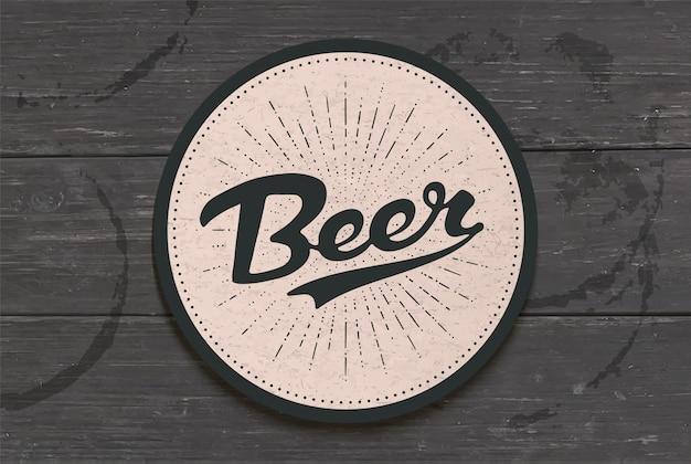 Porta-copos para cerveja com mão desenhada letras cerveja