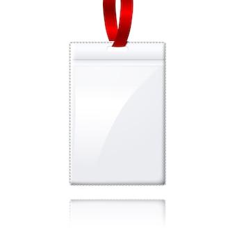 Porta-crachá vertical realista em branco com renda clara e brilhante.