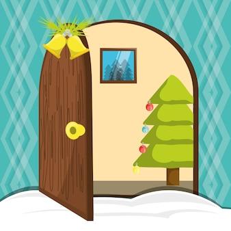 Porta da casa com decoração de natal