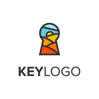 Porta da chave com sol, terra, céu, colorido, simples, logotipo, desenho, vetorial