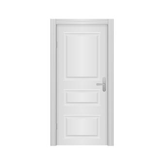 Porta da frente aberta e fechada da casa isolada no fundo branco