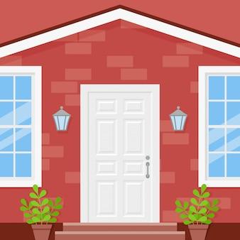 Porta da frente, casa na varanda. ilustração em design plano.