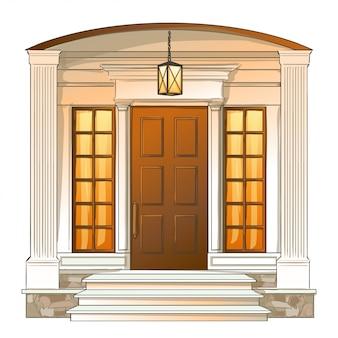 Porta da frente do vetor da casa de luxo tradicional.