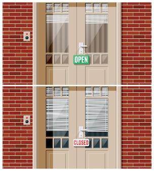 Porta da loja com montras e veneziana. porta da casa de madeira com maçaneta cromada, campainha e placa de sinalização aberta. conceito de convite à entrada ou nova oportunidade. ilustração vetorial plana