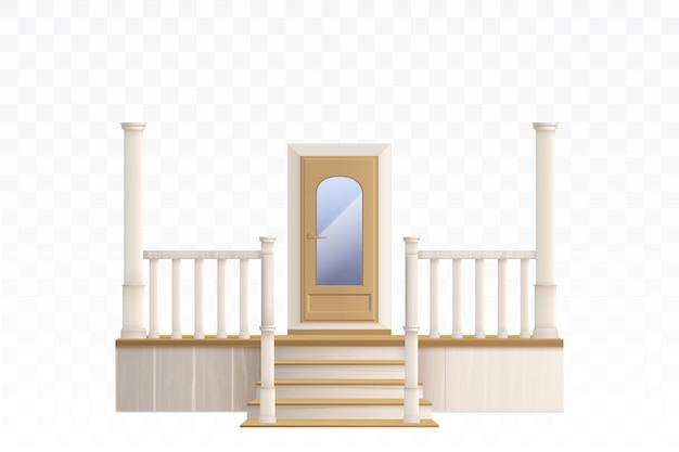 Porta de madeira com ilustração de escada de janela e varanda de vidro