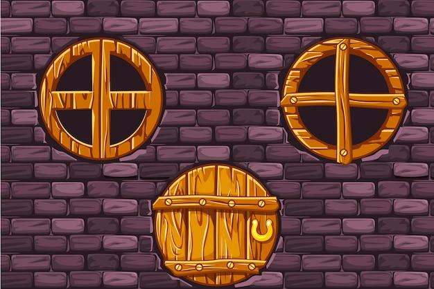 Porta de madeira dos desenhos animados e janelas na parede de pedra