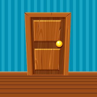 Porta de madeira dos desenhos animados, interior de casa