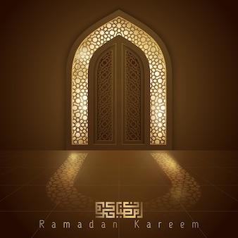 Porta de mesquita de design islâmico para saudação fundo ramadan kareem