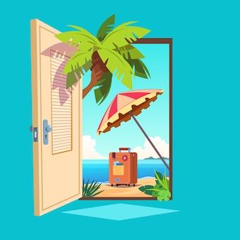 Porta de mola aberta. entrada aberta com paisagem de verão ao ar livre