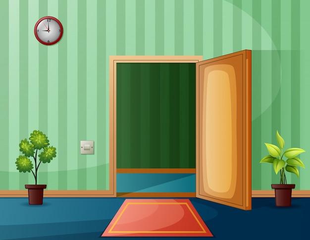 Porta de saída da sala com parede verde e planta