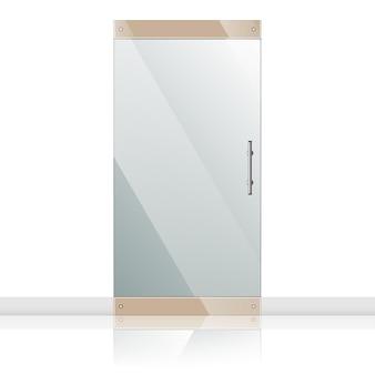 Porta de vidro transparente em estrutura de aço isolada na parede branca