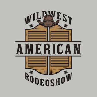 Porta do salão de faroeste e chapéu de cowboy