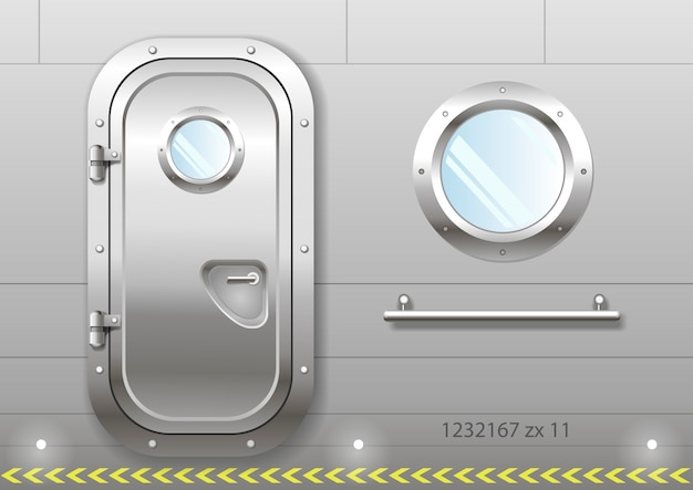 Porta e janela do navio