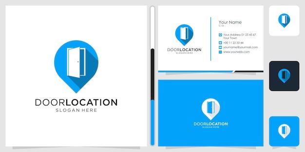 Porta e localização design de logotipo símbolo ícone modelo cartão de visita premium