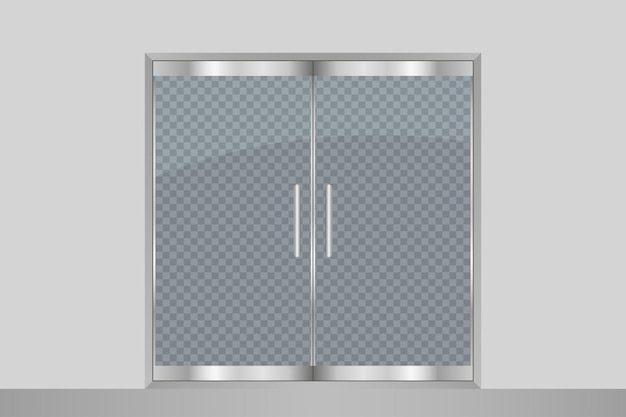 Porta e parede de vidro isoladas em fundo transparente portas duplas de entrada para escritório no shopping