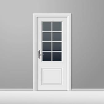 Porta fechada de vetor branco com moldura