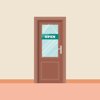 Porta, ícone, em, apartamento, estilo